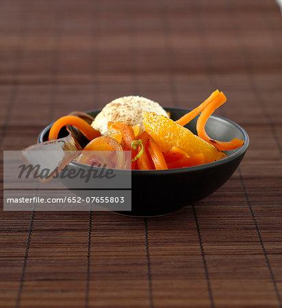 Carrot and orange salad with citronella and cinnamon,vanilla ice cream