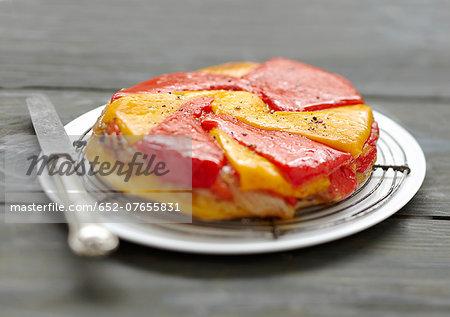 Yellow and red pepper tatin tart