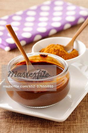 Dark chocolate cream dessert with pepper