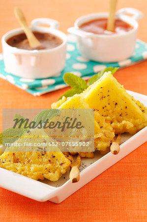 Lemon-flavored pineapple tempuras