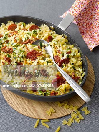Pan-fried pasta with zucchini,tomatoes and Chorizo