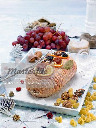 Turkey stuffed with dried fruits