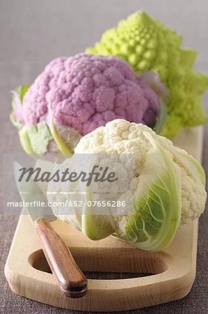 Three types of cauliflowers