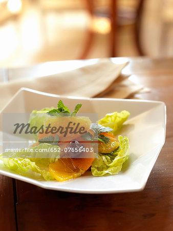 Lettuce,carrot and orange salad