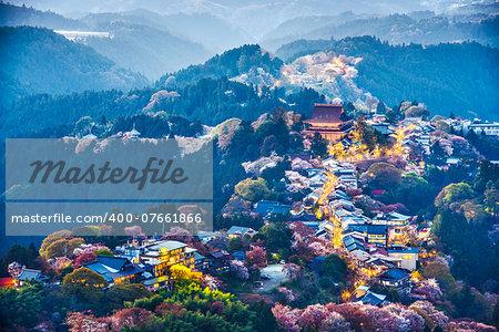 Yoshinoyama, Japan at twilight during the spring.