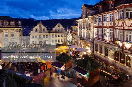 Christmas fair, market place, Schwaebisch Hall, Hohenlohe, Baden Wurttemberg, Germany, Europe