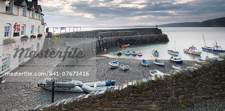 Clovelly harbour at dawn, North Devon, England, United Kingdom, Europe