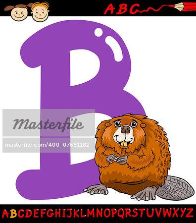 Cartoon Illustration of Capital Letter B from Alphabet with Beaver Animal for Children Education