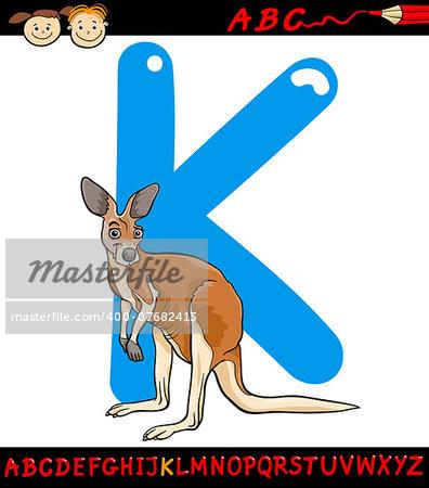 Cartoon Illustration of Capital Letter K from Alphabet with Kangaroo Animal for Children Education