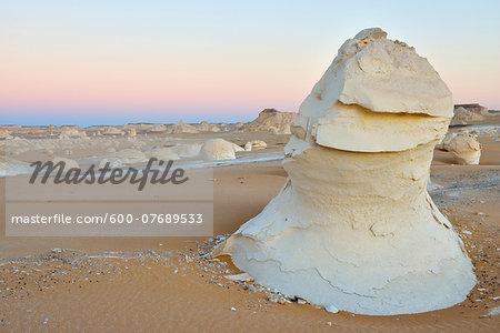 Rock Formations at Dusk in White Desert, Libyan Desert, Sahara Desert, New Valley Governorate, Egypt