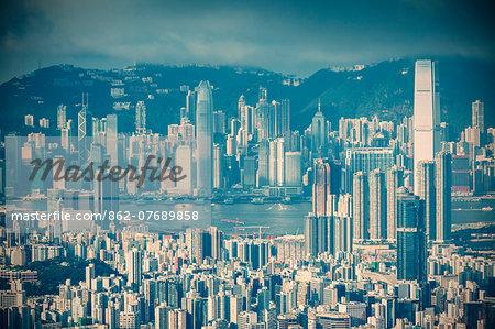View of Kowloon and Hong Kong Island, Hong Kong, China