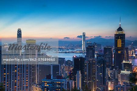Hong Kong Island and Kowloon at sunset, Hong Kong
