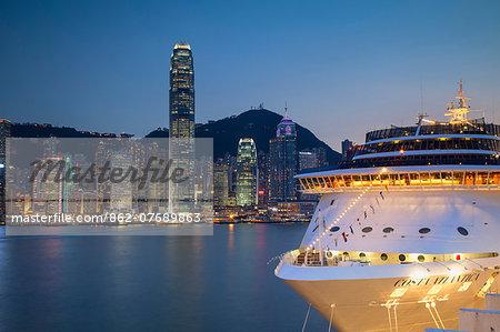 Hong Kong Island skyline and cruise ship, Hong Kong