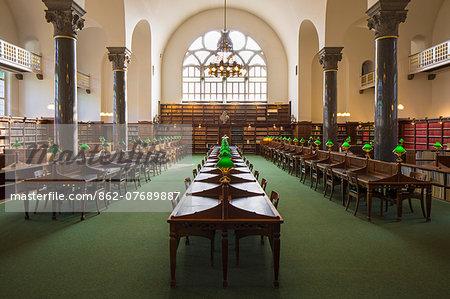 Denmark, Hillerod, Copenhagen. Original reading room in the Holm Building of the Royal Library.