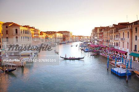 Italy, Veneto, Venice. View from the Ponte di Rialto over the Grand Canal. UNESCO.