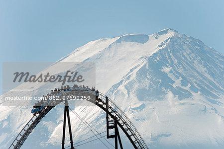 Asia, Japan, Honshu, Mt Fuji 3776m, Unesco World Heritage site, rollercoaster at Fuji Highland