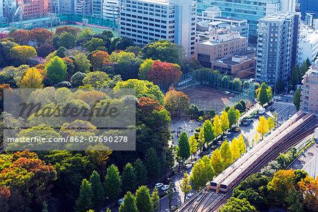 Asia, Japan, Honshu, Tokyo, train tracks and autumn trees