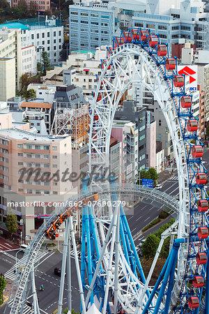 Asia, Japan, Honshu, Tokyo, Fuji City Amusement park, rollercoaster and big wheel