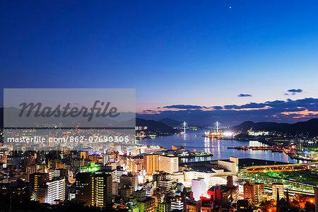 Asia, Japan, Kyushu, Nagasaki, Nagasaki bay at night