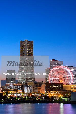 Asia, Japan, Honshu, Yokohama Bay, city skyline and Landmark Tower