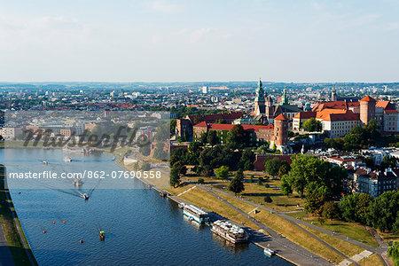 Europe, Poland, Malopolska, Krakow, Wawel Hill Castle and Cathedral, Vistula River, Unesco site