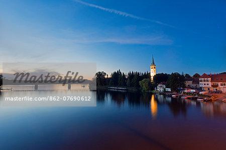 Europe, Poland, Masuria,  Great Masurian Lakes, Mikolajki, Lake Mikolajskie, town church