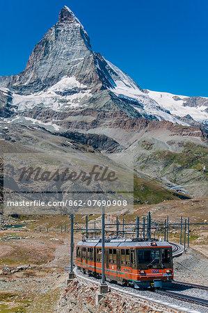 A train of the Gornergratbahn rack railway with Matterhorn behind, Zermatt, Valais, Switzerland