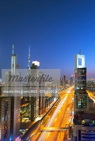 Middle East, United Arab Emirates, Dubai, city buildings on Sheikh Zayed Road