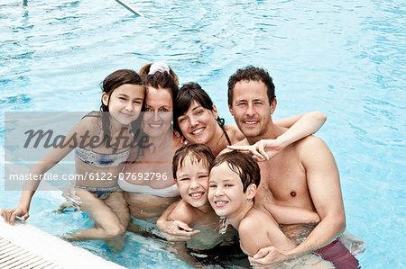 Family portrait in pool