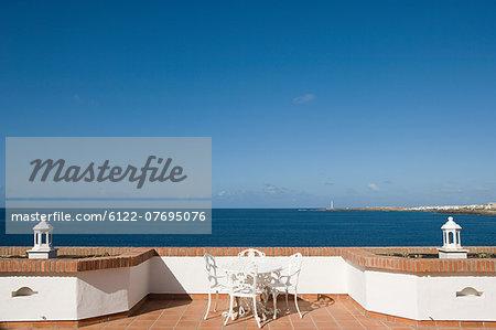Terrace and view over ocean, Playa Blanca, Lanzarote