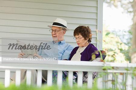 Senior couple reading