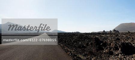 Road through landscape of Montanas del Fuego, Lanzarote