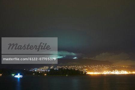 Vancouver skyline lit up at night