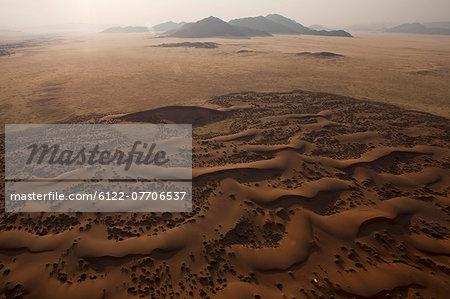 Aerial view of sand dunes in desert