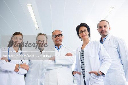 Doctors posing for group portrait