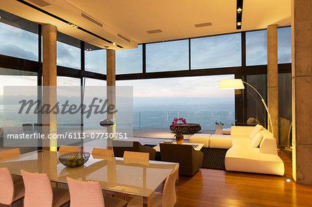 Modern living area overlooking ocean