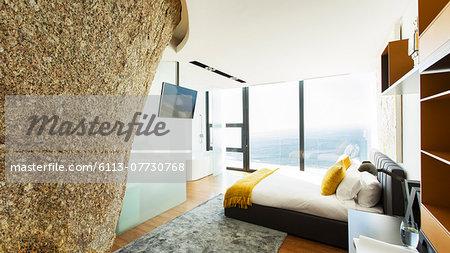 Rock feature in modern bedroom