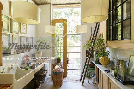 Glass door in rustic kitchen
