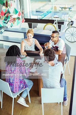 People talking in office