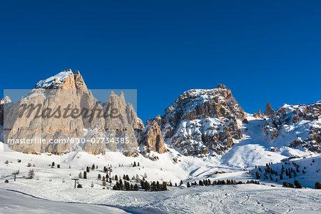 Passo Gardena and Sella Group, Val Gardena, Bolzano District, Trentino Alto Adige, Dolomites, Italy