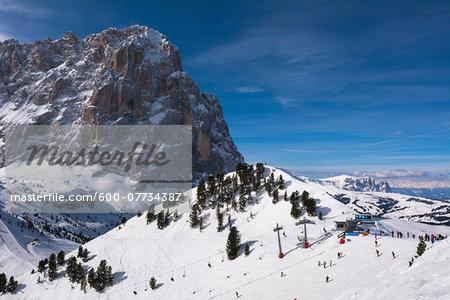 Saslong and Sella Group, Val Gardena, Bolzano District, Trentino Alto Adige, Dolomites, Italy