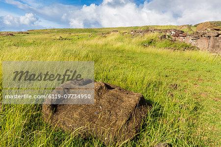 Fallen moai head at the archaeological site at Ahu Vinapu, Rapa Nui National Park, UNESCO World Heritage Site, Easter Island (Isla de Pascua), Chile, South America
