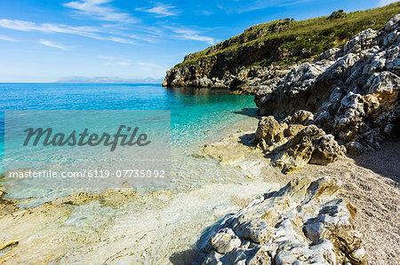 Lovely limestone cove at Zingaro Nature Reserve near Scopello on this beautiful north western coastline, Scopello, Sicily, Italy, Mediterranean, Europe