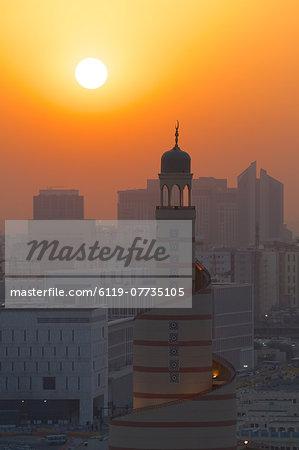 Kassem Darwish Fakhroo Islamic Cultural Centre at sunset, Doha, Qatar, Middle East
