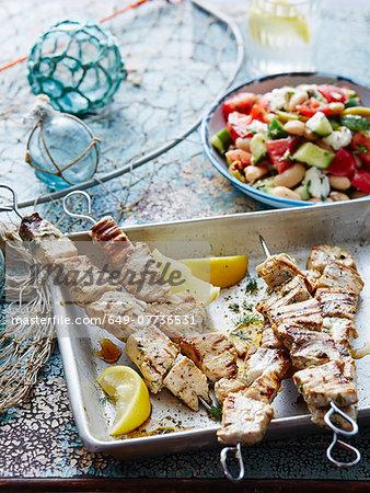 Swordfish souvlaki