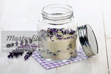 Home-made lavender sugar in a screw top jar