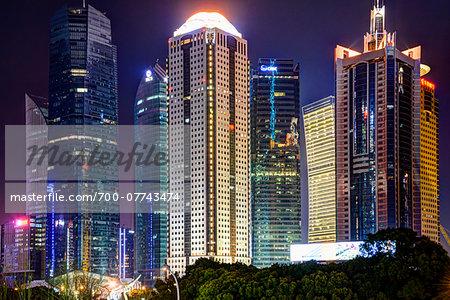 Illuminated Skyscrapers at Night, Lujiazui, Pudong, Shanghai, China
