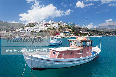 Fishing boat, harbour, Agia Galini, South Coast, Crete, Greek Islands, Greece, Europe