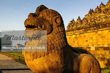 Lion head in the temple complex of Borobodur, UNESCO World Heritage Site, Java, Indonesia, Southeast Asia, Asia