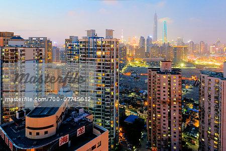 Overvie of city at night, Old City near Yuyuan Garden and Bazar,  Shanghai, Shanghai Shi, Zhonghua, China
